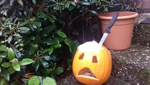 pumpkin kürbis donald trump messer halloween